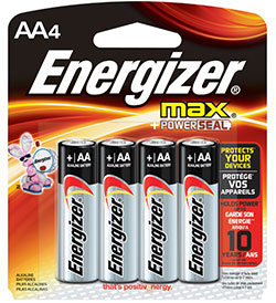 Energizer Max E91-BP-4 AA 1.5V Alkaline Button Top Batteries - 4 Piece Retail Card