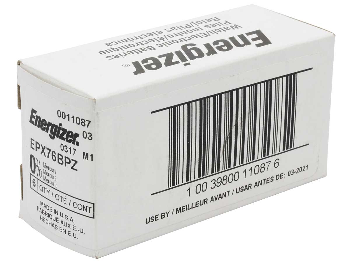 Energizer EPX76 -BPZ 200mAh 1.55V Silver Oxide (Ag2O) Watch Battery - 1 Piece Blister Pack