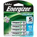 Energizer Recharge NH12-BP-4 AAA 850mAh 1.2V Nickel Metal Hydride (NiMH) Button Top Batteries - 4 Pack Retail Card