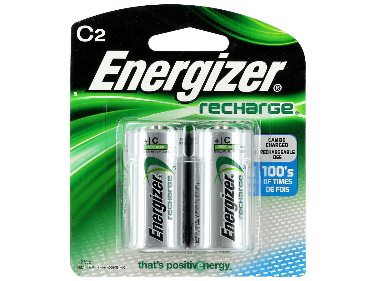 Energizer Recharge NH35-BP-2 C-cell 2500mAh 1.2V Nickel Metal Hydride (NiMH) Button Top Batteries - 2 Piece Retail Card