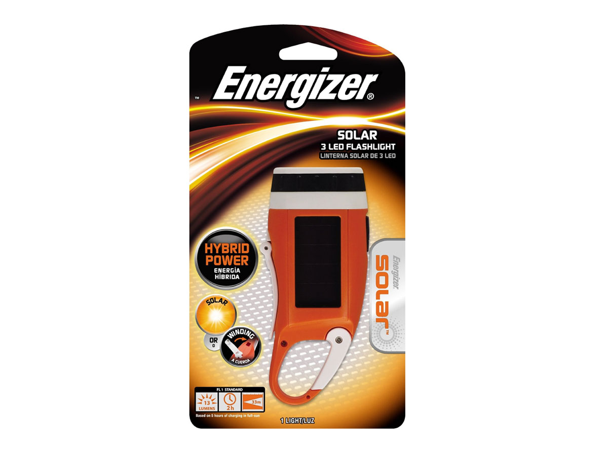 Energizer SOLCKCCBP  - Solar Carabiner Crank LED Flashlight - Uses 1 x NiMH Batteries
