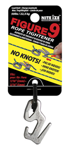 Nite Ize Figure 9 Carabiner Rope Tightener - Single Pack - Large - Black (F9L-02-01) or Silver (F9L-02-09)