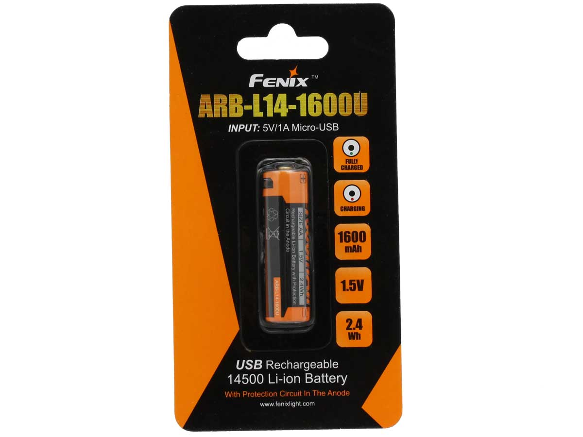Fenix ARB-L14U 14500 1600mAh 1.5V Lithium Ion (Li-ion) Button Top Battery with Micro USB Charging Port - Clam Shell
