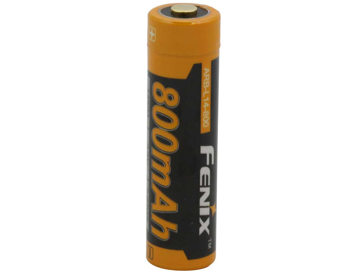 Fenix ARB-L14 14500 800mAh 3.6V Protected Lithium Ion (Li-Ion) Button Top Battery for LD11 Flashlight - Retail Card
