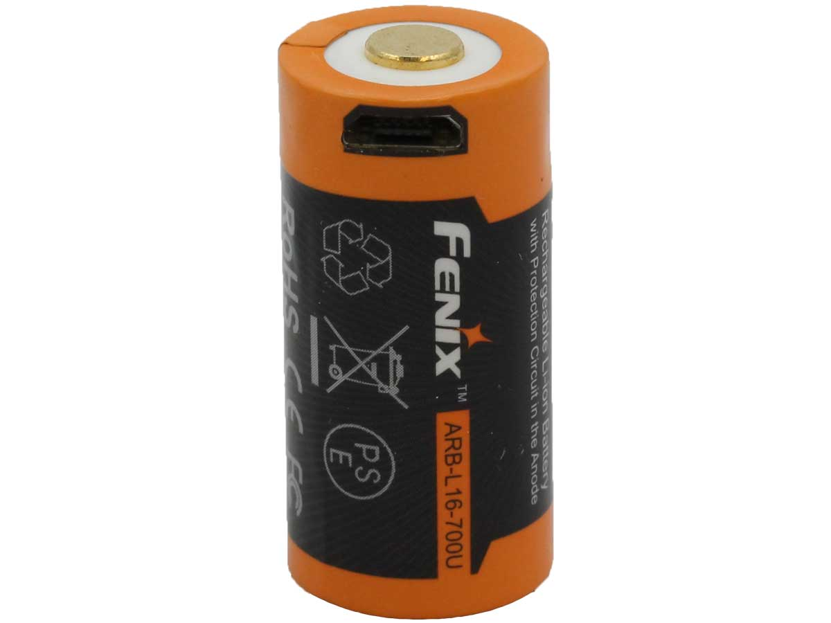 Fenix ARB-L16U 16340 700mAh 3.6V Lithium Ion (Li-ion) Button Top Battery with Micro USB Charging Port - Retail Card