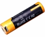 Fenix ARB-L18U 18650 2600mAh 3.6V Protected Lithium Ion (Li-ion) Button Top Battery with Micro USB Charging Port - Clam Shell