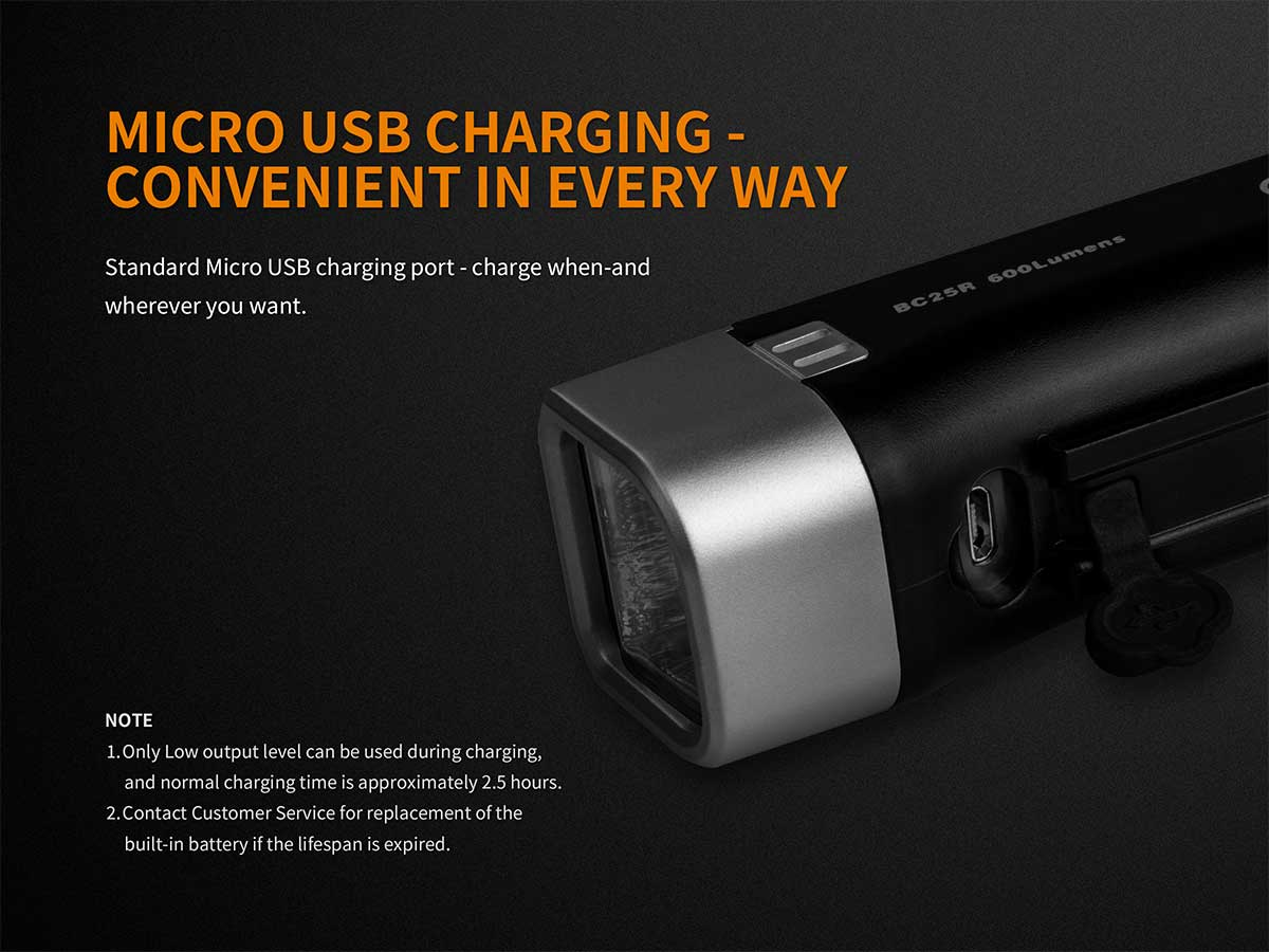 Fenix BC25R Rechargeable Bike Light - CREE XP-G3 LED - 600 Lumens - Includes Built-In 2600mAh Li-ion Battery Pack
