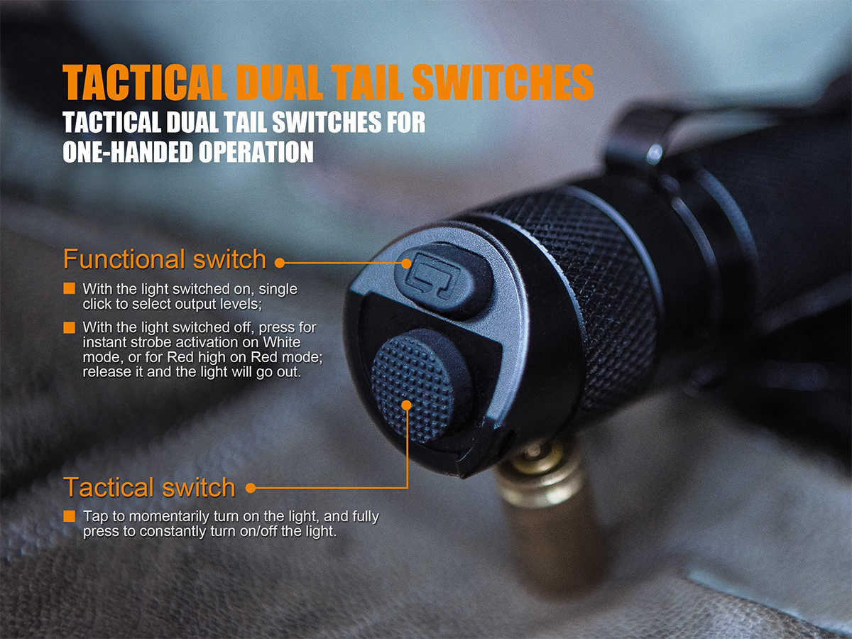 Slide Describing the Fenix TK25 Red LED Flashlight's Dual Tailcap Switch Interface