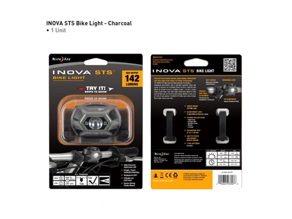 Inova STS Bike Light - With White & Red LED - 142 Lumens - Uses 3 x AAA Batteries  (HLSBA-09-R7)