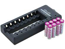 iPower AA Charger Kit - Includes 8 iPower 2600mWh 1.5V Protected Lithium Polymer (LiCoO2) Button Top Batteries and 1 iPower AA8 8-Bay Fast Smart Charger