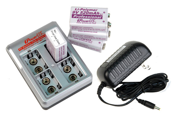COMBO: iPower FC-9V4LN charger + 4 x iPower Li-Poly 9V 520mAh Batteries