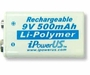 Ipower 9V 500mAh Protected Lithium Ion (Li-ion) Snap Connector Battery - Bulk (IP-500 mAh 9 Volt Lithium Polym)