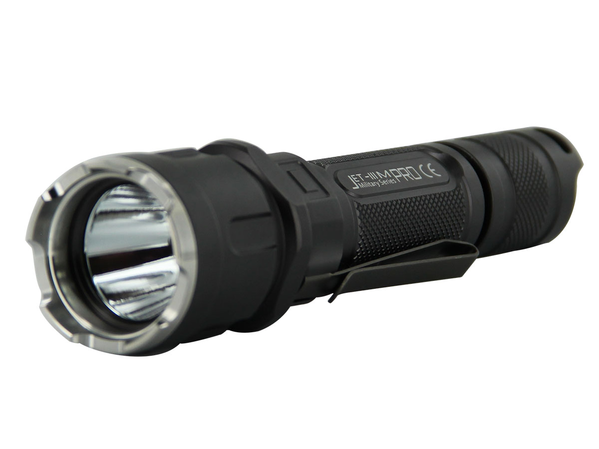 JETBeam 3M Pro Tactical Flashlight - CREE XP-L LED - 1100 Lumens - Uses 2 x CR123As or 1 x 18650 - Black or Retro