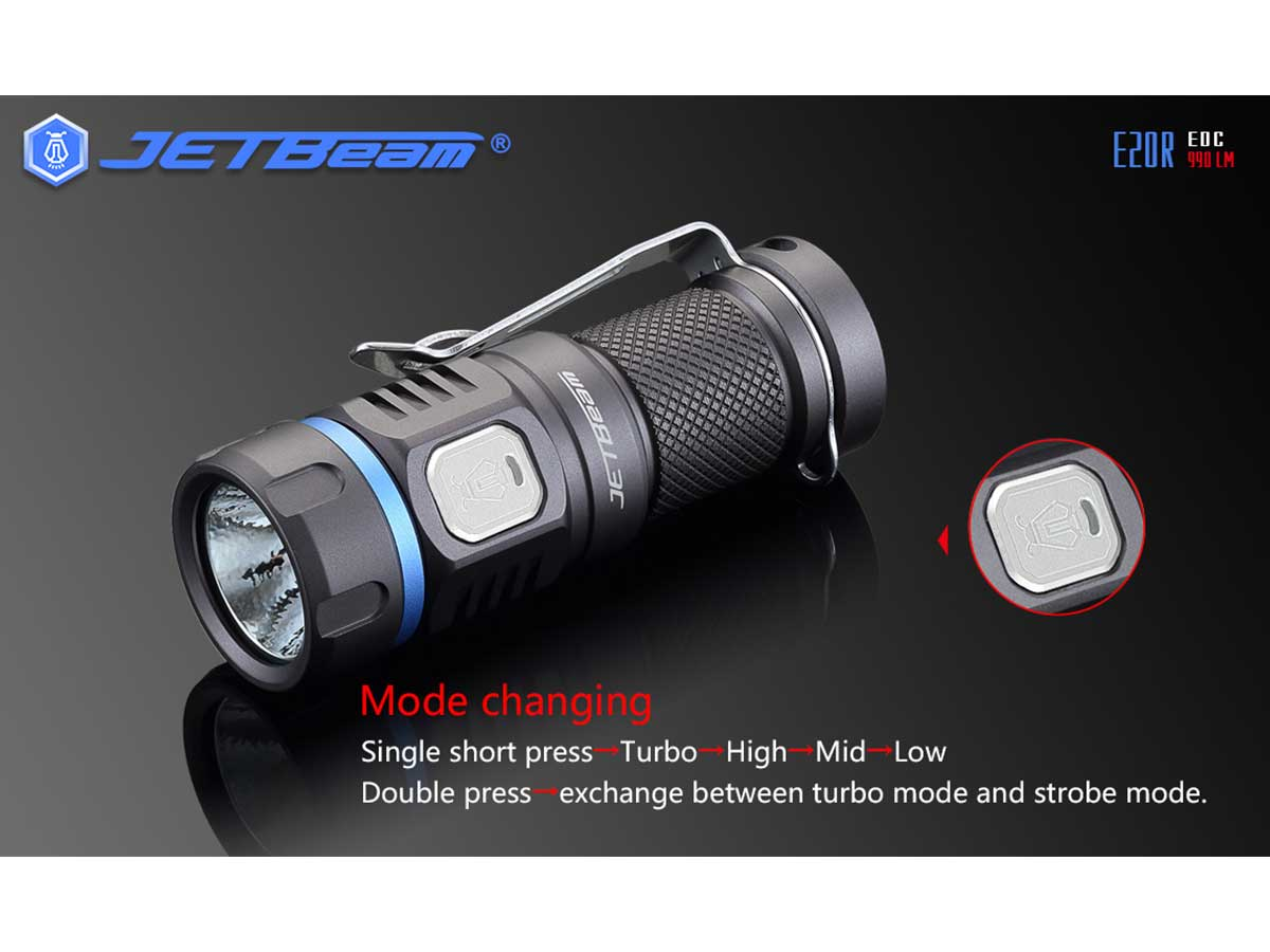 JETBeam E20R Rechargeable EDC LED Flashlight - SST40 N4  BC LED - 990 Lumens - Uses 1 x RCR123A (included) or 1 x CR123A
