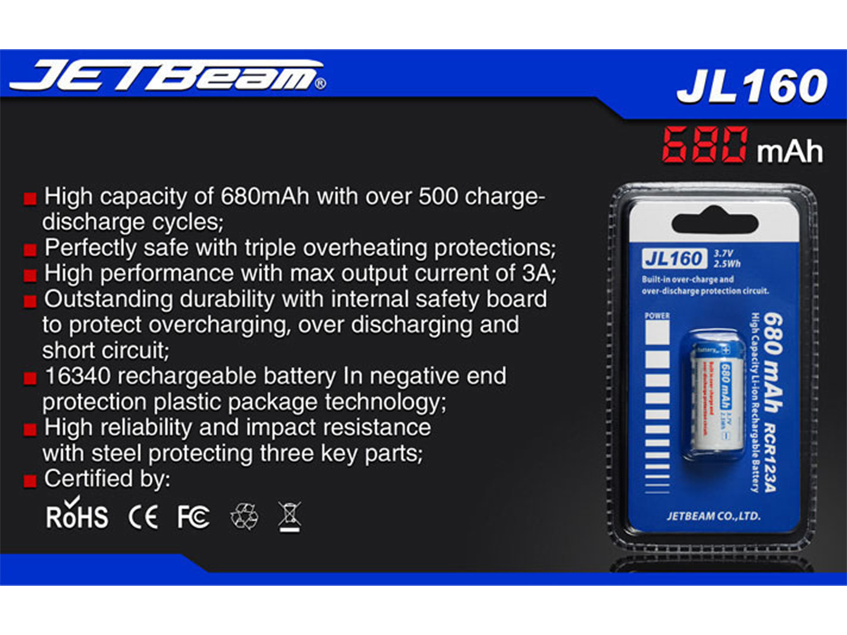 JETBeam JL160 RCR123A / 16340 680mAh 3.7V Protected Lithium Ion (Li-ion) Button Top Battery - Blister Pack