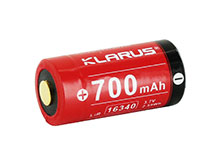 Klarus 16340 700mAh 3.7V Protected Lithium Ion (Li-Ion) Button Top Battery - Plastic Case