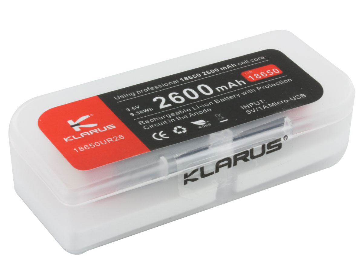 Klarus UR26 18650 2600mAh 3.6V Protected Lithium Ion (Li-Ion) Button Top Battery with Micro USB Charging Port