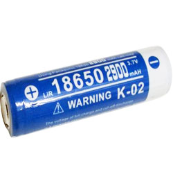 Klarus 18650 2900mAh 3.7V Protected Lithium Ion (Li-ion) Flat Top Battery - Plastic Box