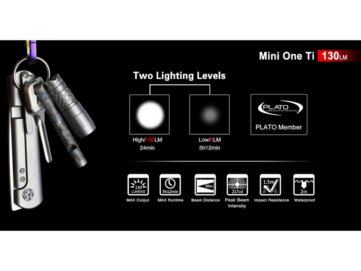 Klarus Mini One Ti Micro-USB Rechargeable LED Keychain Flashlight - CREE XP-G3 - 130 Lumens - Titanium - Includes 1 x 10180