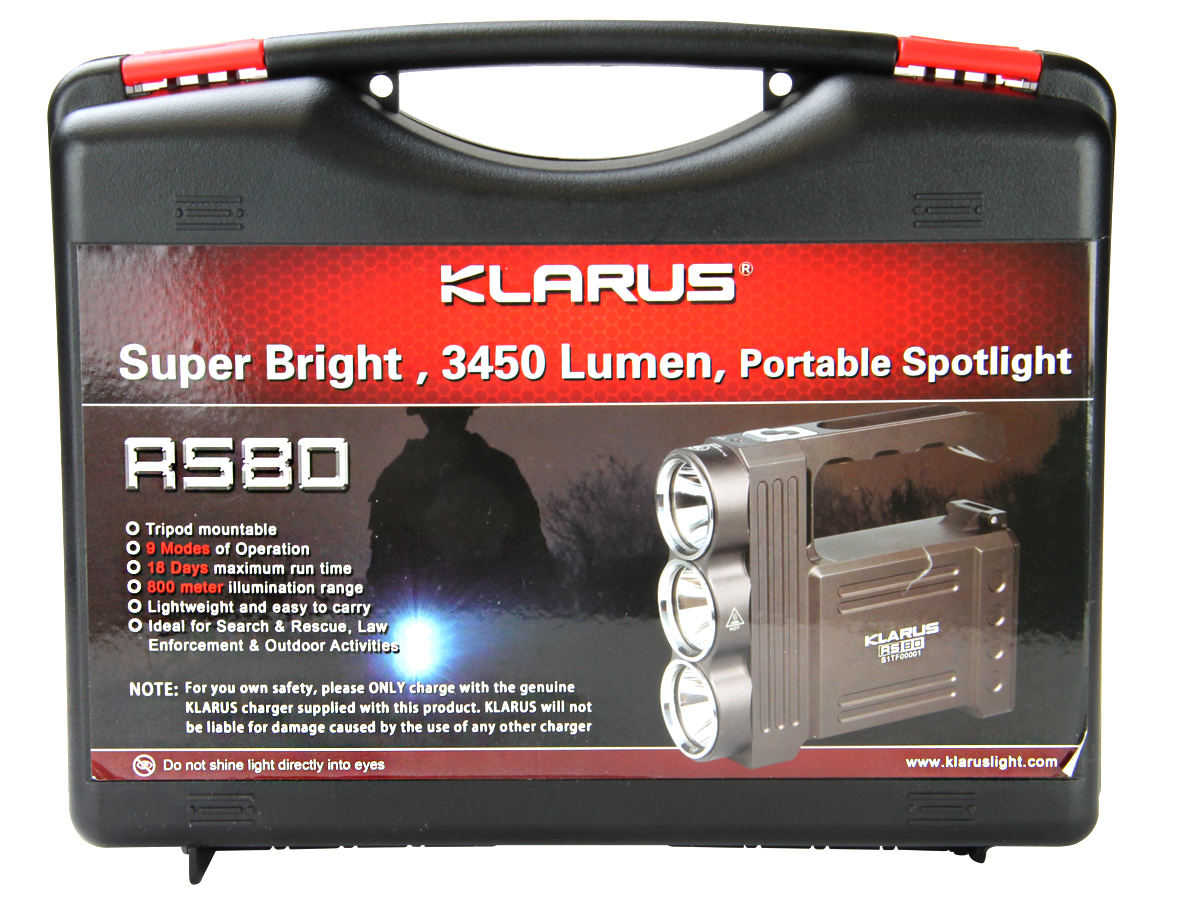Klarus RS80 Rechargeable Portable Spotlight - 3 x CREE XM-L2 (U2) LEDs - 3450 Lumens - Includes Battery Pack