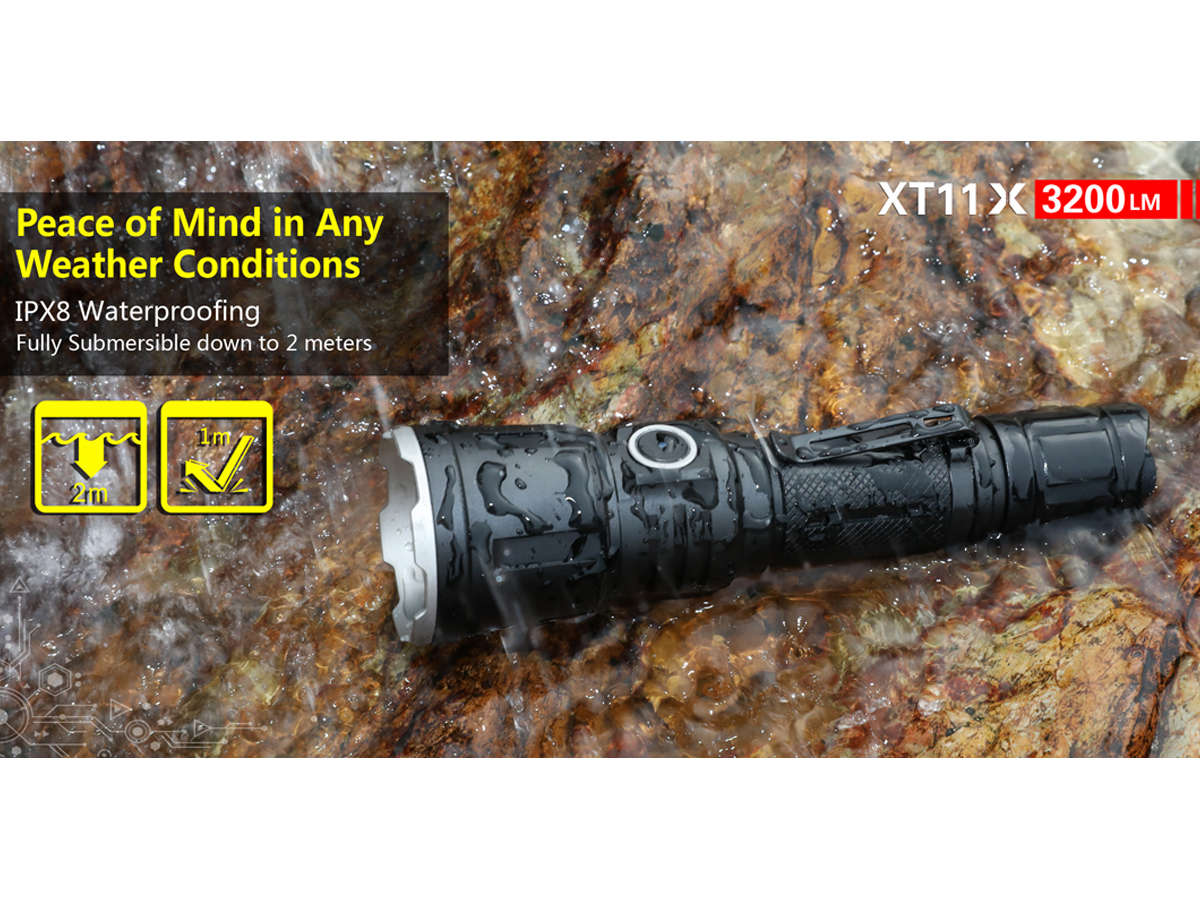 Klarus XT11X Rechargeable LED Flashlight - CREE XHP70.2 P2 - 3200 Lumens - Uses 1 x IMR 18650 (Included) or 2 x CR123A