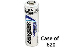 Energizer Ultimate L91 (620PK) AA 3000mAh 1.5V High Energy 5A Lithium (LiFeS2) Button Top Batteries - Case of 620
