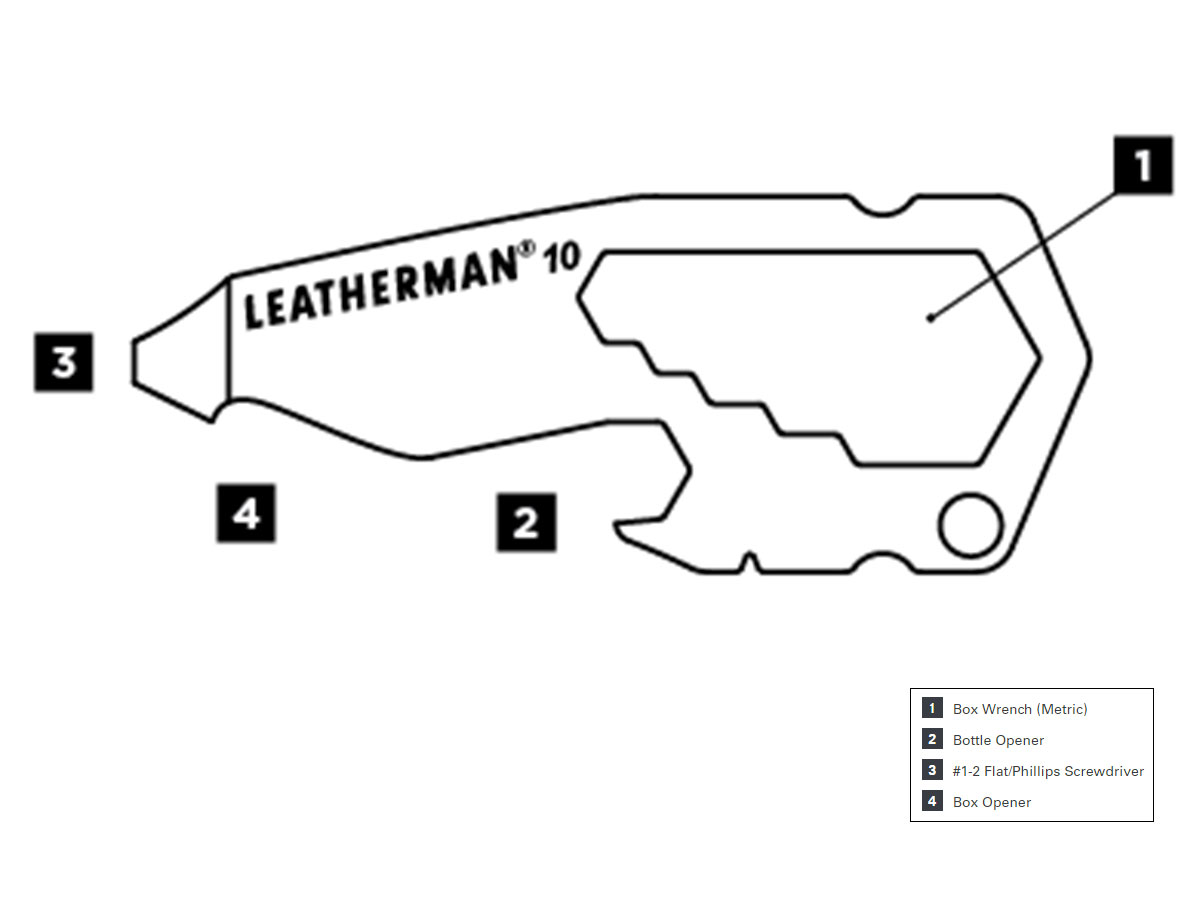 Leatherman By the Numbers #10 One Piece Pocket Tool - Peghook Packaging (832125)