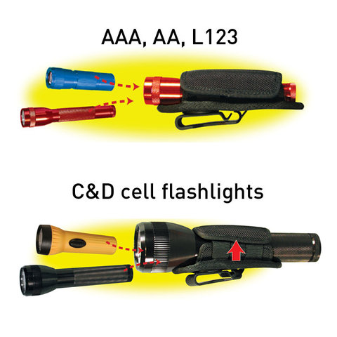 Nite Ize Light Holster Stretch for AAA, AA, L123, C & D cell Flashlights with 5/8 to 1.5 Diameter Barrels - Black