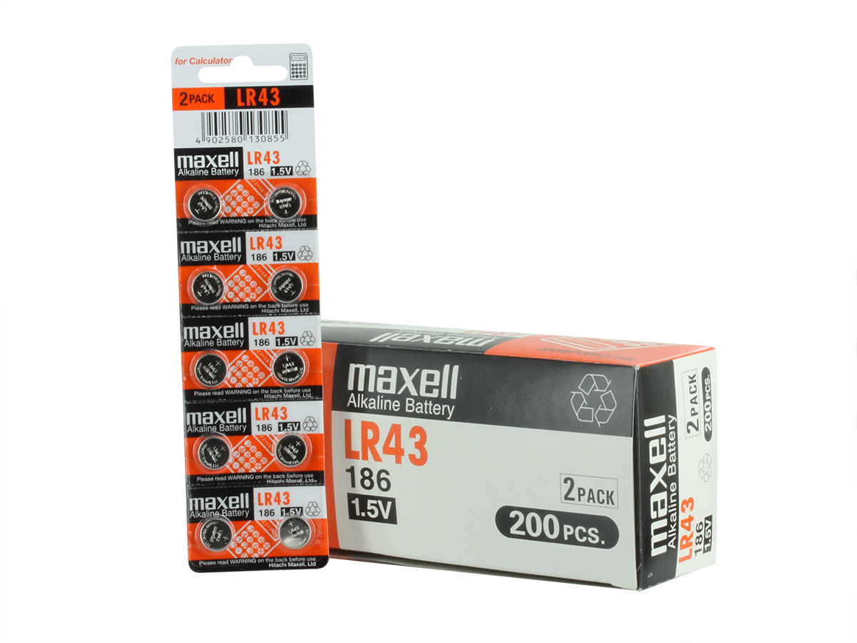 Maxell LR43 55mAh 1.5V Alkaline Coin Cell Battery - 1 Piece Tear Strip, Sold Individually