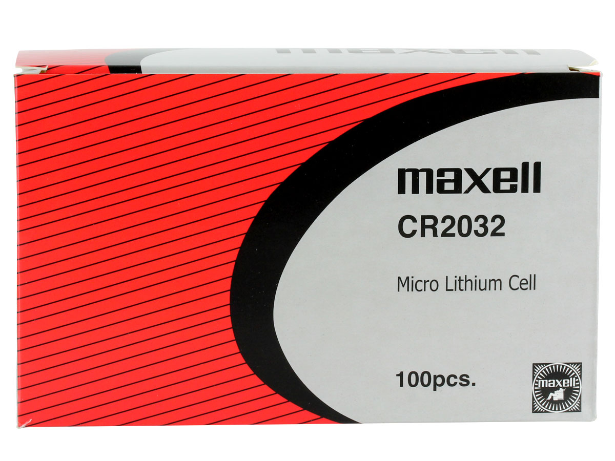 Maxell CR2032 220mAh 3V Lithium (LiMNO2) Coin Cell Battery - 1 Piece Tear Strip, Sold Individually