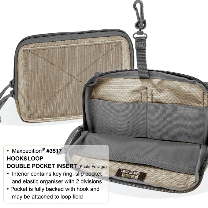 Maxpedition 3517 Hook-n-Loop Double Pocket Insert- Khaki/Foliage