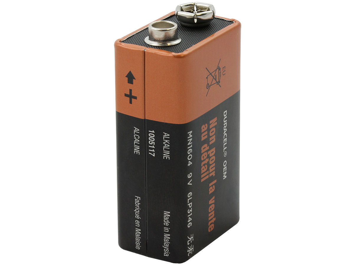 Standing Shot of the Duracell MN1604 9V Alkaline Battery