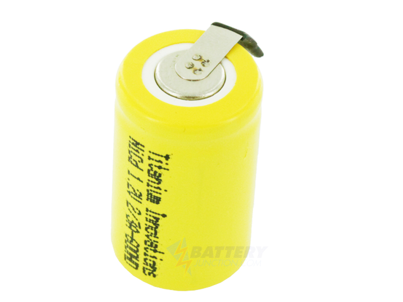 Titanium Innovations 2/3A 600mah NiCd 1.2V FLAT TOP w/ SOLDER TABS,  2C HIGH DISCHARGE RATE  2/3A-600HD-T