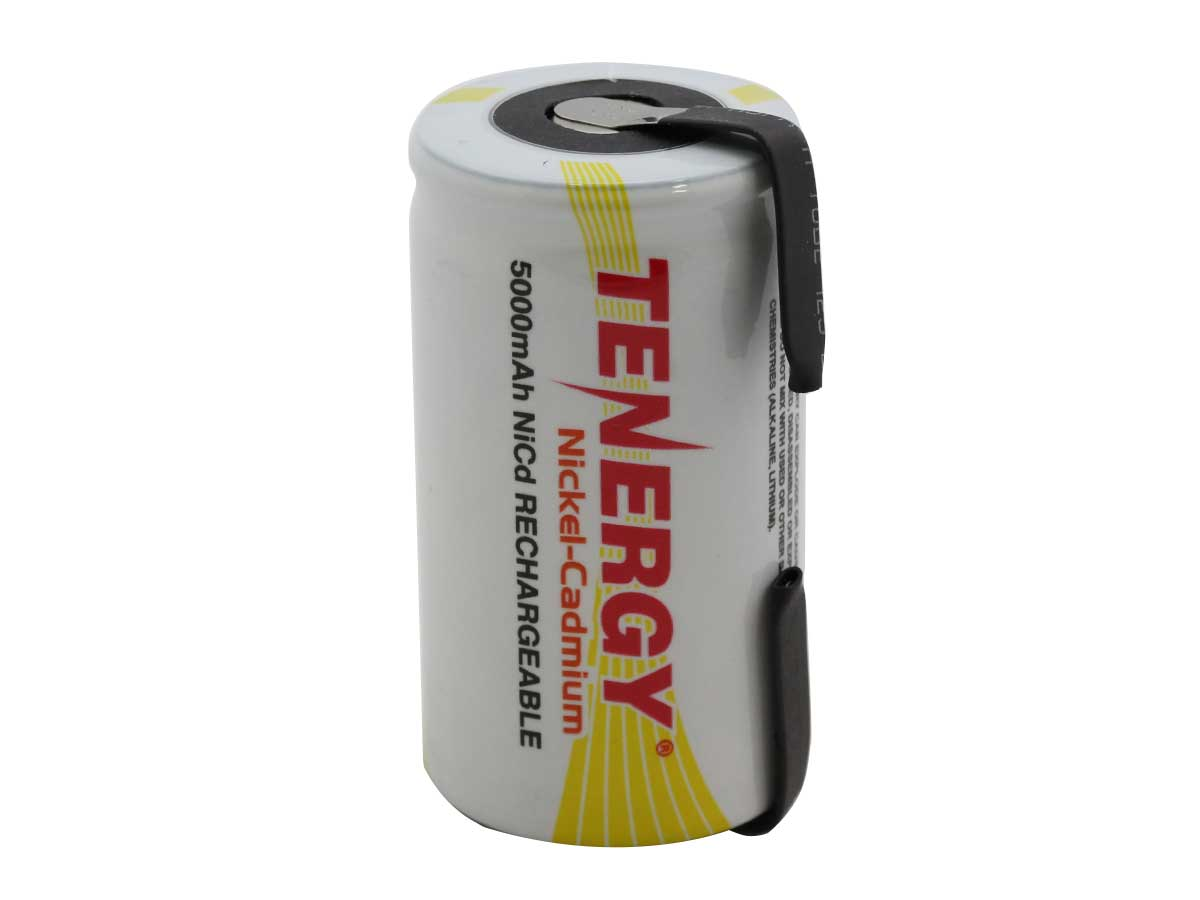 Tenergy 20501-1 D-cell 5000mAh 1.2V Nickel Cadmium (NiCd) Battery with or without Tabs - Bulk