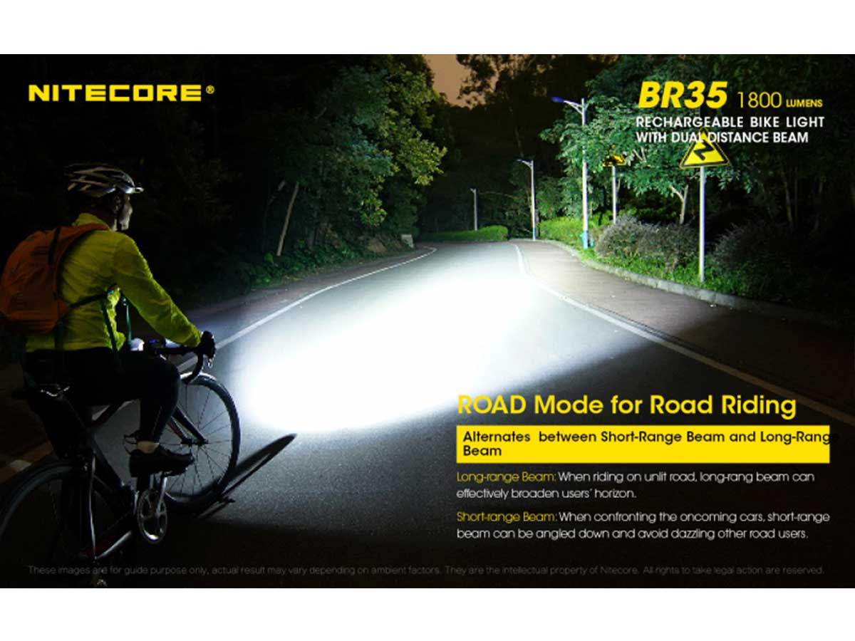 Nitecore BR35 Dual Distance Beam Rechargeable Bike Light - 2 x CREE XM-L2 U2 - 1800 Lumens - Includes Built-In 6800mAh Li-Ion Battery Pack