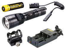 Nitecore Chameleon CB6 Blue LED Flashlight Night Hunting Kit with GM02 Weapon Mount, RSW1 Remote Switch, 18650 Battery and Charger -  Fits Picatinny Railed Guns - 440 Lumens