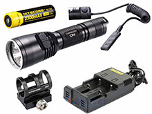 Nitecore Chameleon CR6 Red LED Flashlight Night Hunting Kit with GM02 Weapon Mount, RSW1 Remote Switch, 18650 Battery and Charger -  Fits Picatinny Railed Guns - 440 Lumens