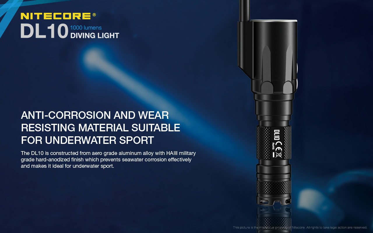 Nitecore DL10 LED Dive Light - CREE XP-L HI V3 - 1000 Lumens - Uses 1 x 18650 or 2 x CR123A