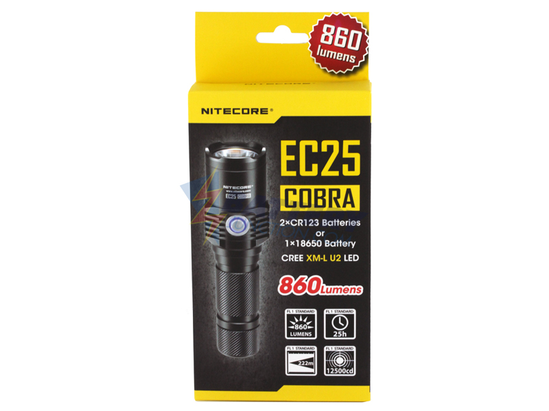 Nitecore Explorer EC25 Cobra Palm-Sized Searchlight - CREE XM-L U2 LED - Neutral White - 860 Lumens - Uses 2 x CR123s or 1 x 18650