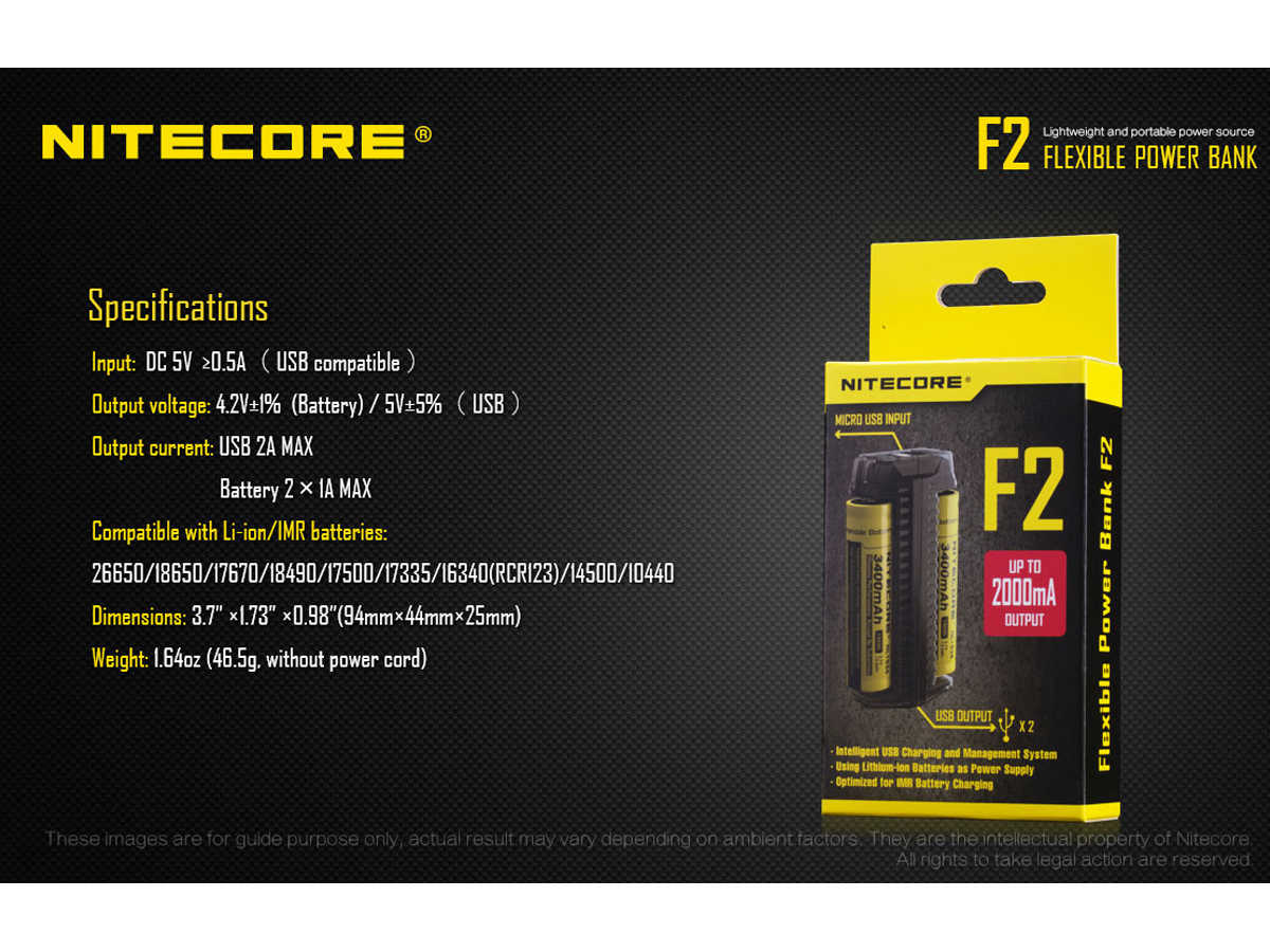 Nitecore F2 Flexible Power Bank and 2-Bay Charger for Li-Ion, IMR Batteries