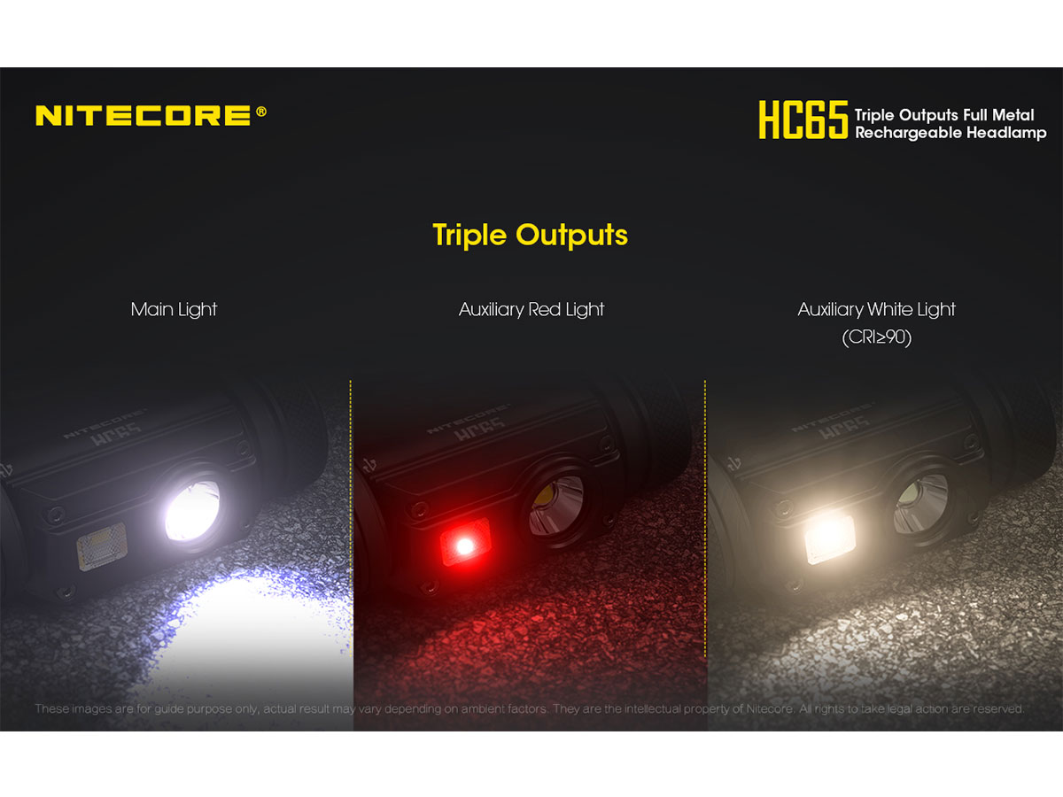 NITECORE HC65 main, red and auxillary light