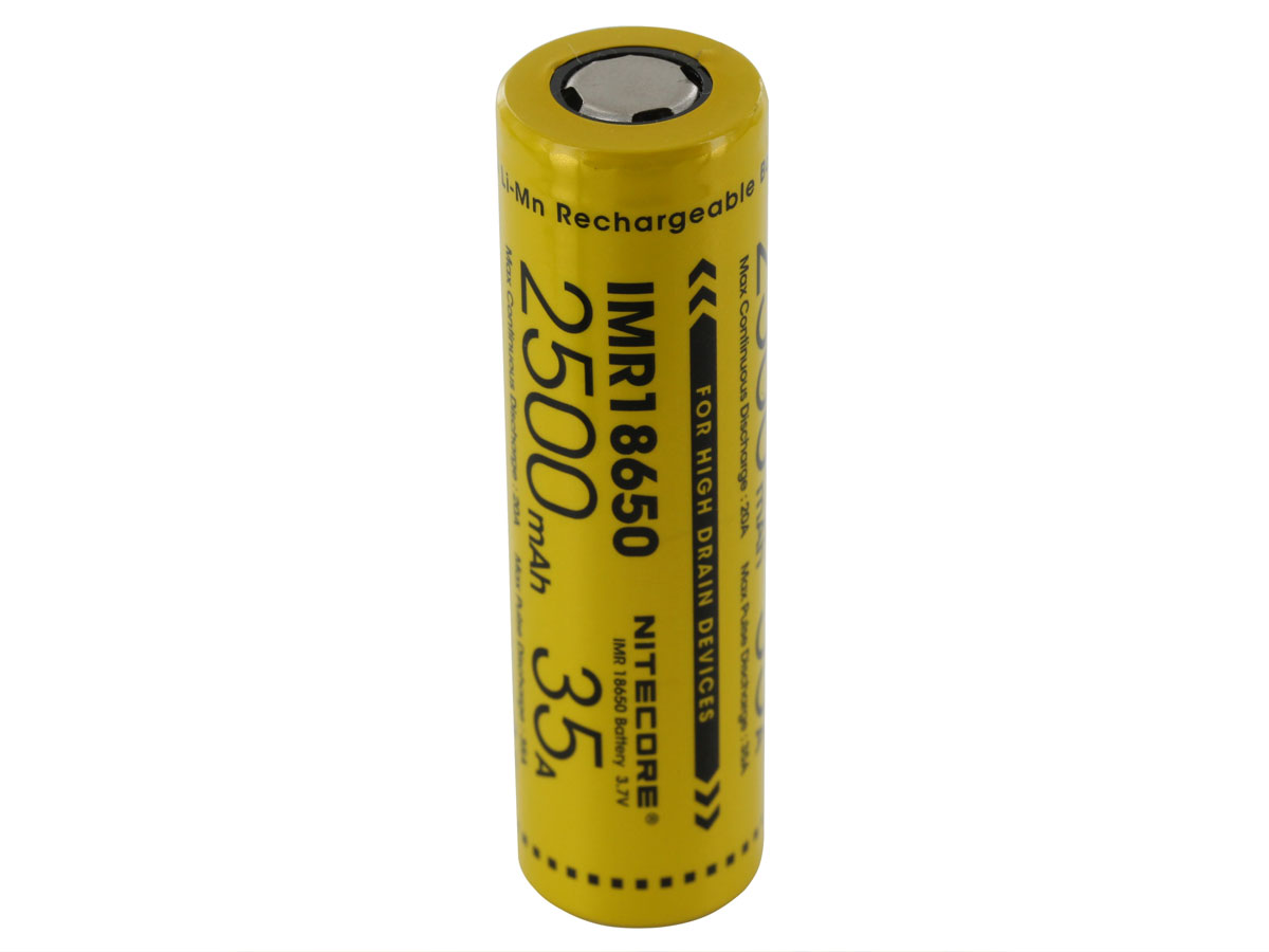 Nitecore IMR 18650 2500mAh 3.7V Unprotected High-Drain 35A Lithium Manganese (LiMn2O4) Flat Top Battery - Boxed