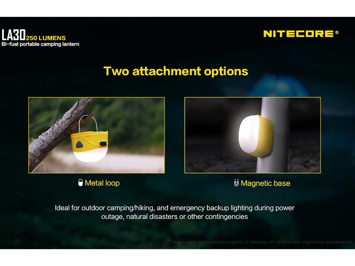 Nitecore LA30 Bi-Fuel Camping Lantern - 8 x CRI LEDs and 3 x Red LEDs - 250 Lumens - Includes Built-In 1800mAh Li-Ion Battery Pack - Comes in Yellow and Blue