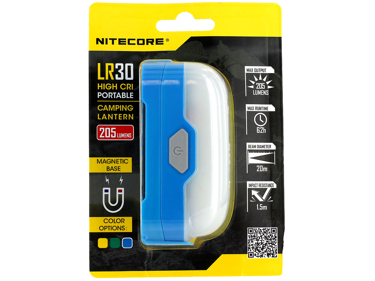 Nitecore LR30 High CRI Camping Lantern with Magnetic Base - 1 x Red and 6 x White LEDs - 205 Lumens - Uses 1 x 18650 or 2 x CR123As - Jungle Green, Ocean Blue or Sand Yellow