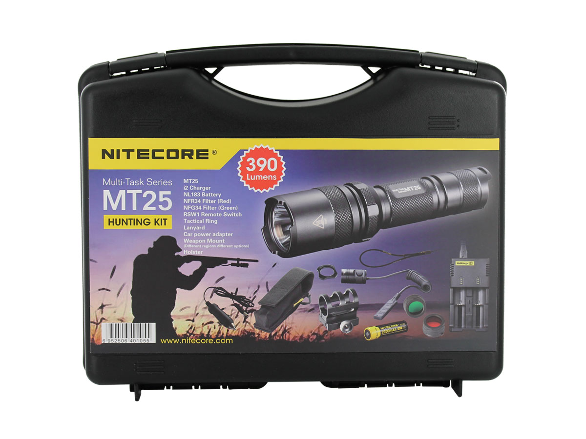 Nitecore Multitask MT25 Hunting Flashlight with Charger, Filters, Pressure Switch, Gun Mount & Car Adapter - CREE XP-G R5 LED - 390 Lumens - Uses 1 x 18650 (Included) or 2 x CR123A