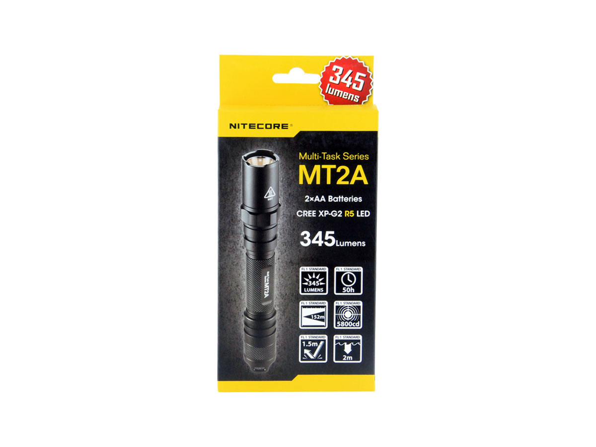NITECORE MT2A Multi-Task LED Flashlight - 345 Lumens with CREE XP-G2 R5 LED - Uses 2 x AA