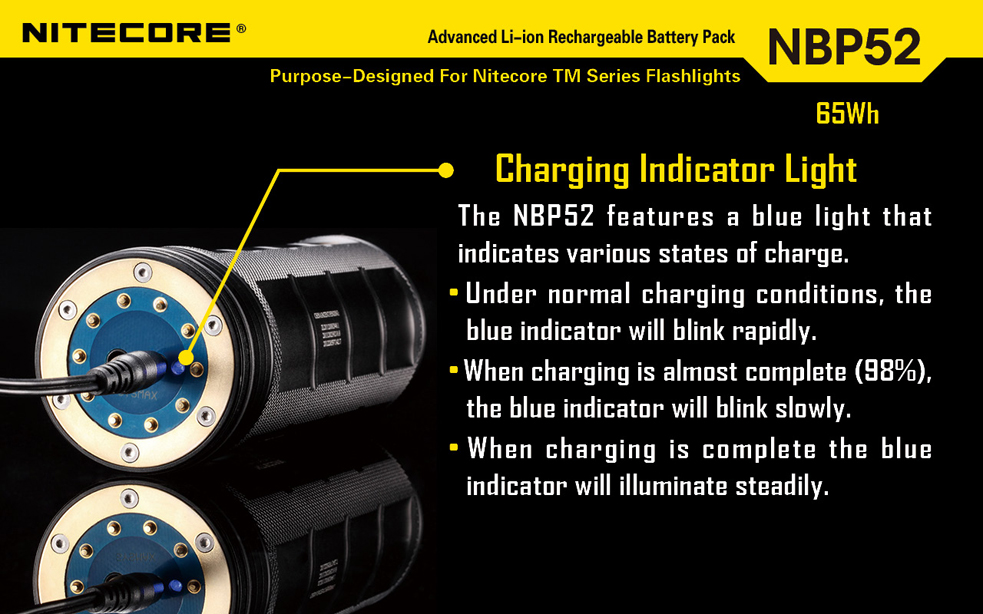 Nitecore 2300mAh 3.7V Protected Lithium Ion (Li-ion) Battery Pack for TM11, TM15 and TM26 Flashlights (NBP52)