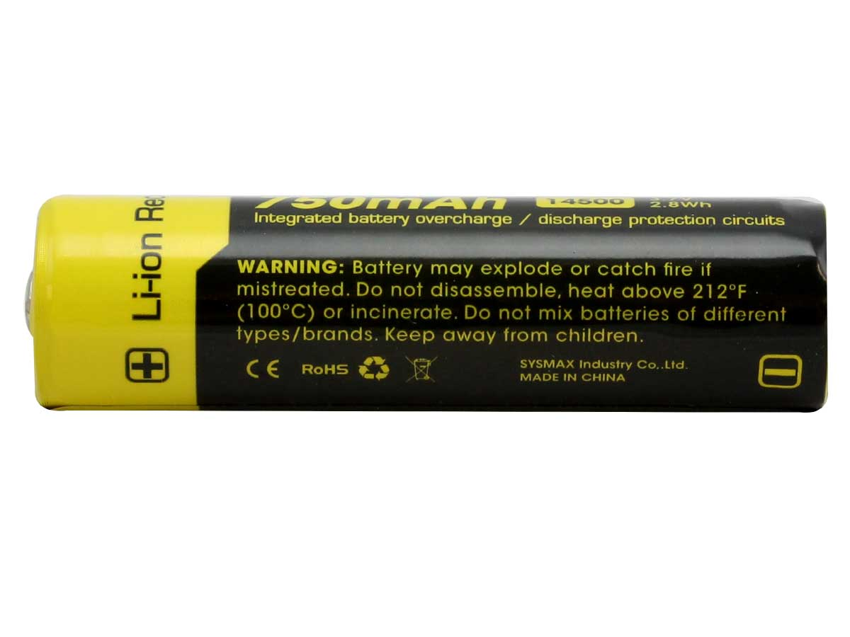 Nitecore NL147 14500 750mAh 3.7V Protected Lithium Ion (Li-ion) Button Top Battery - Blister Pack