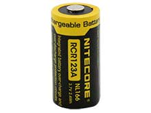 Nitecore NL166 RCR123A / 16340 650mAh 3.7V Protected Lithium Ion (Li-ion) Button Top Battery - Blister Pack