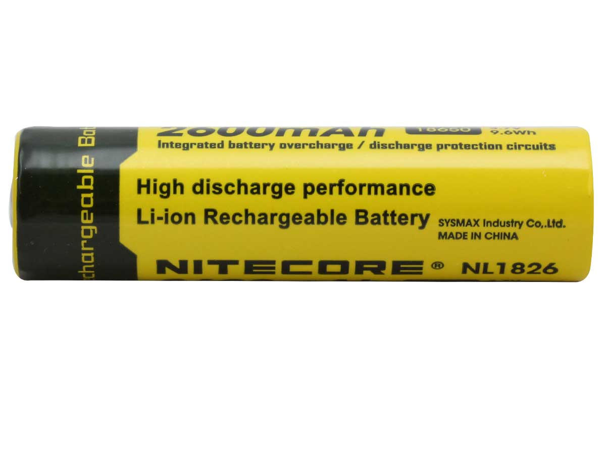 Nitecore NL1826 18650 2600mAh 3.7V Protected Lithium Ion (Li-ion) Button Top Battery - Blister Pack